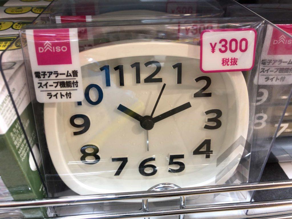 ダイソー DAISO 製品仕様 スイープ秒針 時計 300円 置き時計 アナログ時計