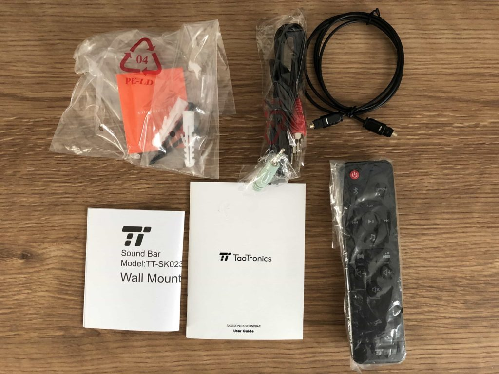 サウンドバー スピーカー taotronics リモコン 光ケーブル