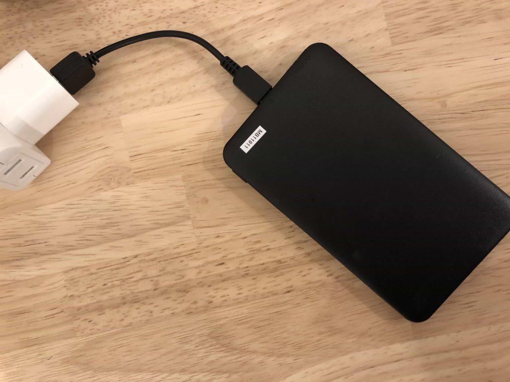 DAISO ダイソー モバイルバッテリー 500円 短いケーブル USBケーブル