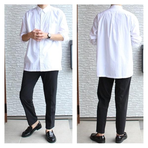 uniqlo ユニクロ エクストラファインコットンブロードオーバーサイズシャツ EFCブロードオーバーサイズシャツ EZYアンクルパンツ アンクルパンツ 白シャツ ローファー AAA サンエープラス jwanderson JWアンダーソン