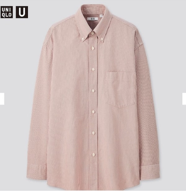 ユニクロ ユニクロU uniqlo uniqlou オックスフォードワイドフィットストライプシャツ(長袖) pink 2020aw 2020秋冬 Yシャツ メンズ クリストフルメール