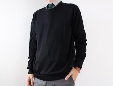 SUIT SELECT オリヒカ ORIHICA スーツセレクト ユニクロ UNIQLO エクストラファインメリノクルーネックセーター(長袖) エクストラファインメリノ ニット セーター ブラック Yシャツ