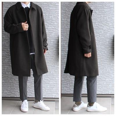 ユニクロ UNIQLO ユニクロコーデ シングルブレストコート ステンカラーコート コーデ 暖かさ ステンカラーコート EZYアンクルパンツ EFCブロードオーバーサイズシャツ